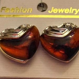 Amber Colored Heart Shaped Earrings - Clip On
